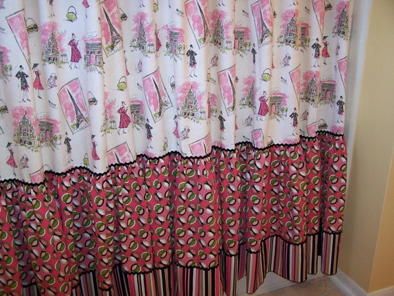 Paris Fashion Tours Tres Chic Shower Curtain in Pink Black & Green ...