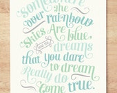 CUSTOM COLORS - 16x20 'Somewhere Over the Rainbow' Nursery Art Print