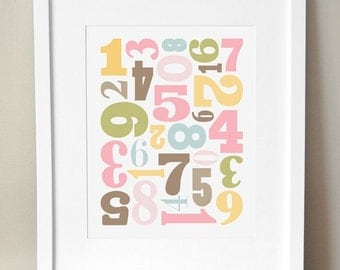 8x10 - 3 Color Schemes - 'Number Jumble'  - Girl Numbers Nursery Art