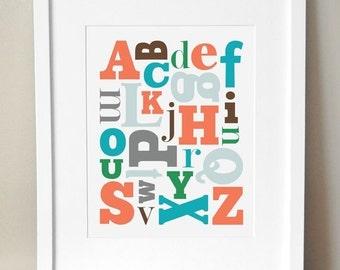 8x10 - 3 Color Schemes - 'Alphabet Soup' Print - Boy Alphabet Nursery Art