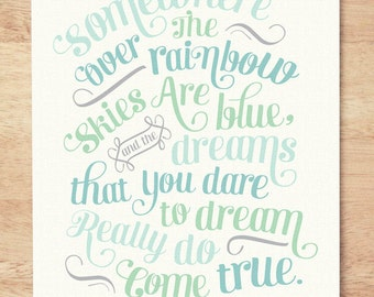 CUSTOM COLORS - 5x7 'Somewhere Over the Rainbow' Nursery Art Print