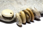 Drilled Pebble Beach Stone Bead Supplies- Organic Petoskey Jewelry Pendants- Natural Focal Beading Lot- Sensational Six by Allybeans