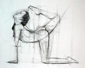 Figure Leg Up Original Charcoal Gesture Drawing 11 x 14