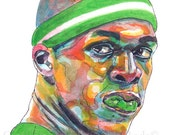 Boston Celtics Rajon Rondo Guard Painting Reproduction Print 11 x 8.5