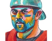 Boston Red Sox Jason Varitek Painting Reproduction Print 11 x 8.5