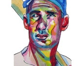 Boston Red Sox Legend Ted Williams Painting Reproduction Print 11 x 8.5