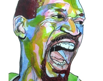 Boston Celtics Bill Russell Painting Reproduction Print 11 x 8.5