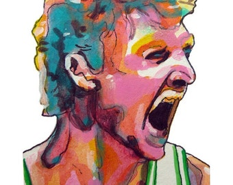 Boston Celtics Larry Bird Painting Reproduction Print 11 x 8.5