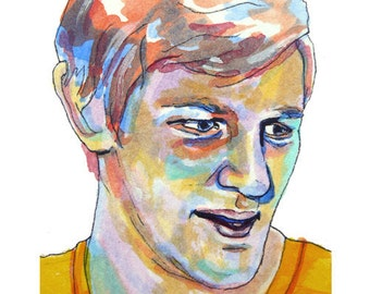 Boston Bruins Bobby Orr Painting Reproduction Print 11 x 8.5