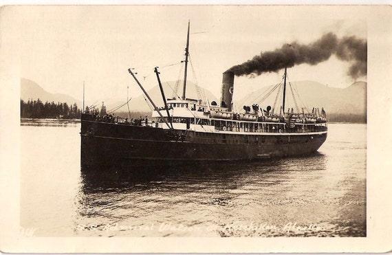 RPPC SS Admiral Watson Steamer Ketchikan Alaska 1922 AK Harbor Pacific Steamship Company