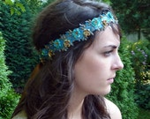 Electric Blue Headband Satin Boho Headband with Gold Beads and Sequins for Women and Teens Handmade by Jill's Boutique
