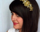 Sale-Golden Beaded Headband French Floral Crown for Women and Teens by Jill's Boutique