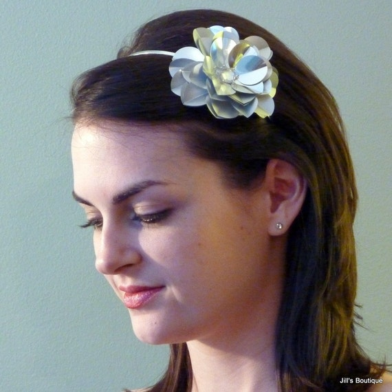 Sparkly Silver Headband Sequin Paillette Rose Headband for women and teens by Jill's Boutique