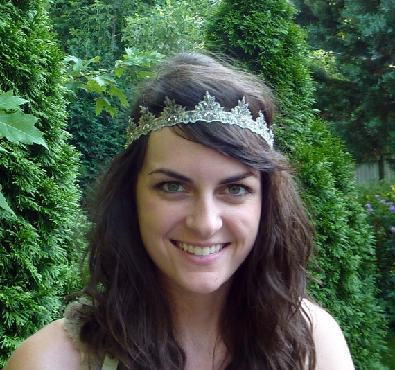 Embroidered Headband Sage Green and Silver Beaded Headband for Women and Teens Handmade by Jill's Boutique