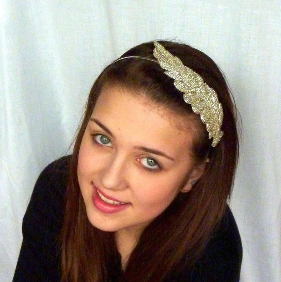Silver Beaded Headband Goddess Crown Feather Leaf Headband for Women and Teens by Jill's Boutique