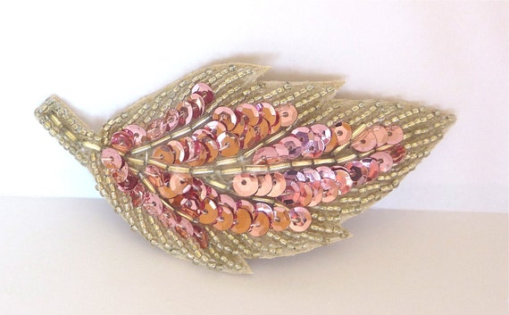 Sparkly Orchid Pink Sequin Beaded Leaf Hairclip for Women and Teens by Jill's Boutique
