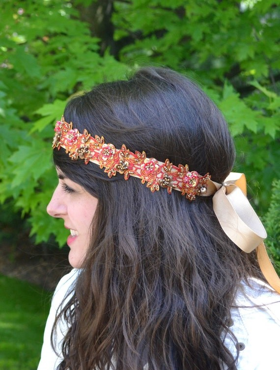 Red and Tan Gold Headband Satin Boho Headband with Gold Beads and Sequins for Women and Teens Handmade by Jill's Bou