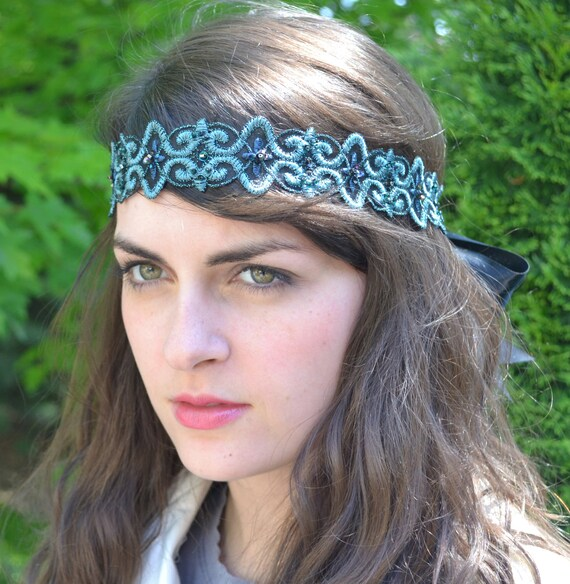 Black and Teal Metallic Embroidered Ribbon Headband for Women and Teens by Jill's Boutique on Etsy