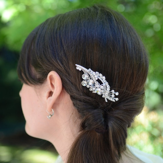 Bridal Rhinestone Flower Hair Comb by Jills Boutique on Etsy