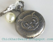 Large Faced Owl Pocket watch necklace