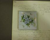 Vintage Tea bag  Dish -  Minature - Dogwood Design - Hand Painted