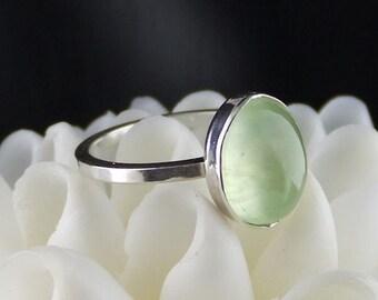 Prehnite Ring, Sterling Silver Ring, Green Gemstone Ring, Green Jewel Ring, Prehnite Jewelry, Prehnite Jewellery, Green Stone Silver Ring