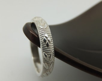 Big Silver Ring, Thick Silver Band, Pattern Band, Sterling Silver Ring, Sterling Silver Band, Wedding Ring, Leaf Ring, Flower Band
