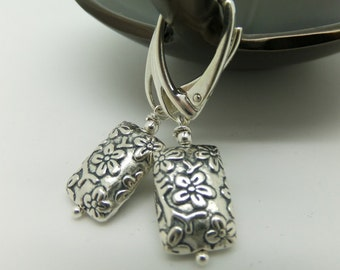 Drop Earrings Cherry Blossoms - Textured Sterling Silver Leverback Earrings