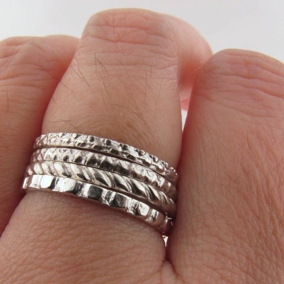 4 Sterling Silver Stacker Rings Set - Geometrica
