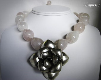 SALE - Rose Quartz Necklace, Mother's Day, Flower Necklace, Flower Jewelry, Rose Quartz Jewelry, Womens Jewelry, Pink Necklace, Love Jewelry