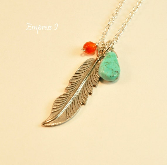 The Silver Feather Necklace With Turquoise and Carnelian