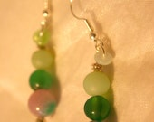 Semi Precious Jade and Agate earrings - Pear Drops
