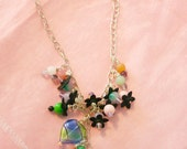 Semi Precious Jade, Rainbow Fluorite and Lucite necklace - Secret Garden