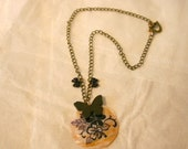 Hand Painted Shell Disc and Butterflies Necklace - Nishki