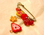 Silver Kilt pin brooch - bag charm, wood strawberries and cute beads - Very Berry