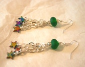 "Swarovski, Hematite and Lampwork dangle earrings ""Carina"", sparkly, statement"