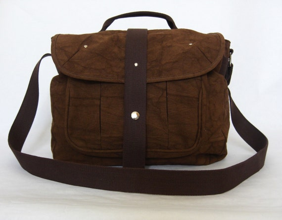 20% DISCOUNT-Organic and Fair Trade Cotton Canvas Mayfair Messenger/Satchel in Brown