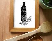 Olive Oil Italian Kitchen Art Print / L'OLIO Black / high quality fine art print