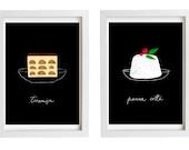 """Italian Dessert Art Print Set Panna Cotta and Tiramisu SALE 11""""x15"""",  Black and white kitchen - archival fine art giclée prints"""