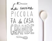 Anek LA CUCINA Kitchen Art Typography Print  - high quality fine art print