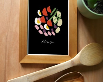 Salade Niçoise French Recipe BLACK Kitchen Print / high quality fine art print