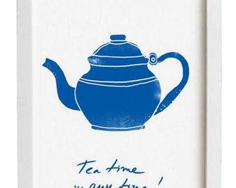 Tea Time Kitchen Art, Tea pot Art for Kitchen - high quality fine art print