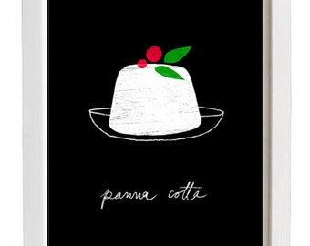 "Italy Black Dessert Illustration Panna Cotta Kitchen Print 11""x15"" -  archival fine art giclée print"