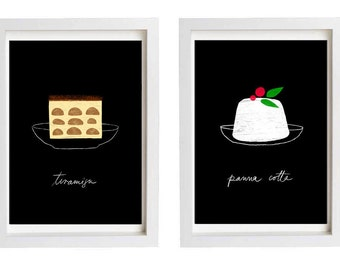"Kitchen Decor Panna Cotta and Tiramisu art prints SALE 11""x15"" - archival fine art giclée prints"