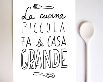 Anek LA CUCINA Kitchen Art Typography Print  - high quality fine art print