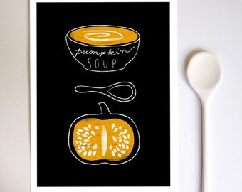 "Pumpkin soup - Kitchen Art Print 8.3x11.7"" Halloween Orange Black Fall October - archival fine art giclée print"