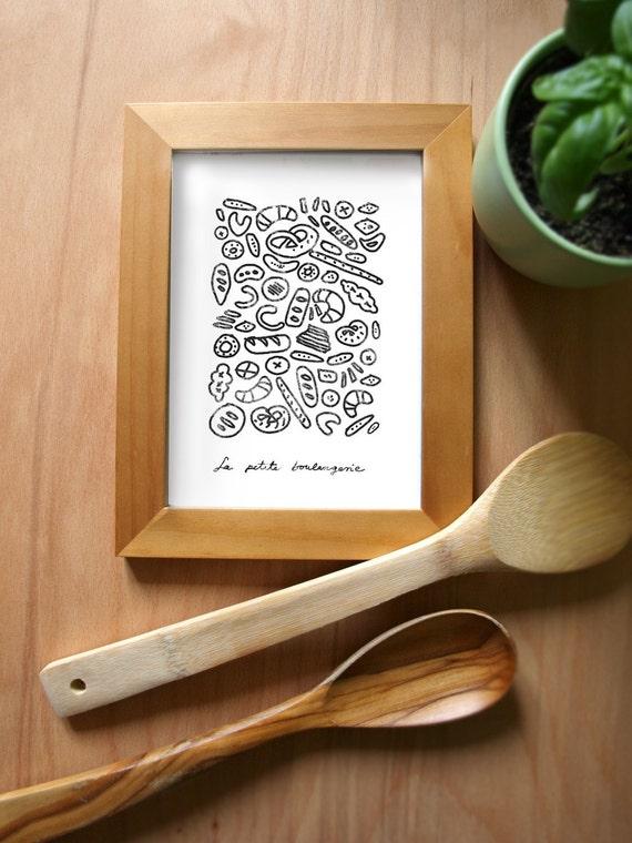 French Kitchen Art Print - La Petite Boulangerie - high quality fine art print