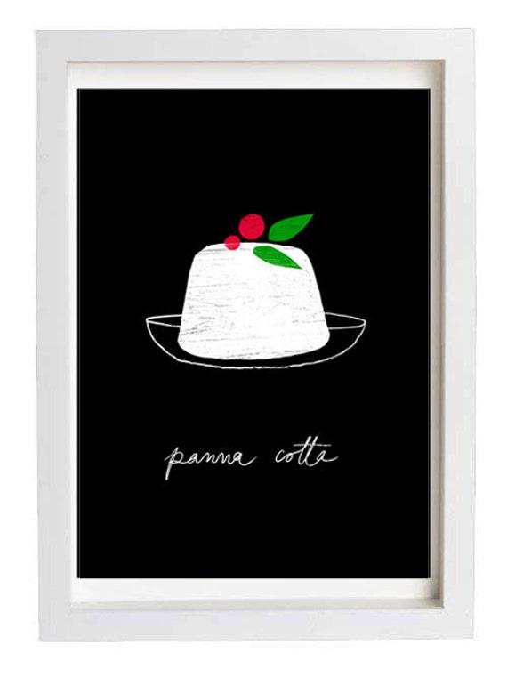 "Italy Black Dessert Illustration Panna Cotta Kitchen Print 11""x15"" -  archival fine art giclée print"