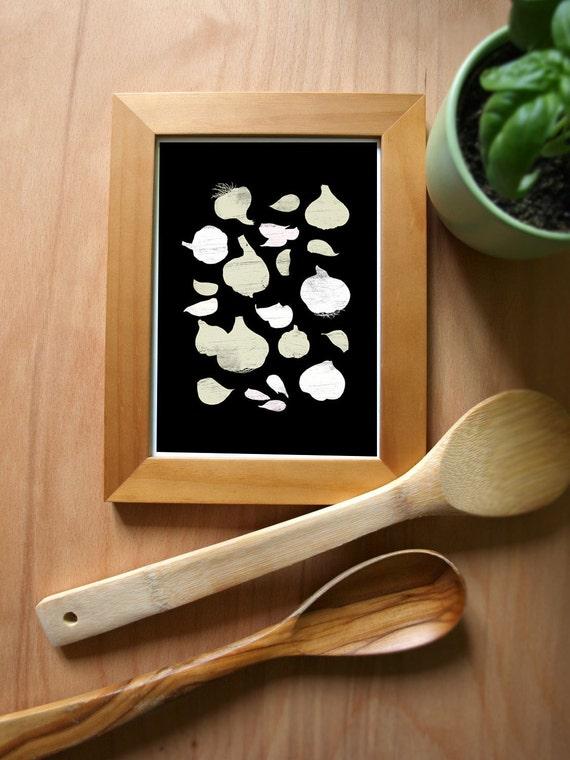 Garlic Black Kitchen Art Print / archival fine art giclée print
