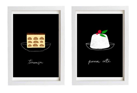 "Italian Dessert Art Print Set Panna Cotta and Tiramisu SALE 11""x15"",  Black and white kitchen - archival fine art giclée prints"